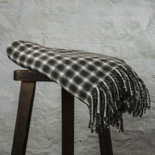 Ardalanish Mill, Isle of Mull, Grey & White Small Check Blanket