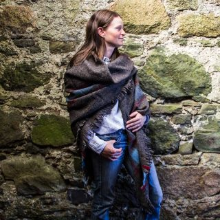 Ardalanish Mill, Isle of Mull, Corner Check Shawl model shot