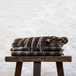 Ardalanish Mill, Isle of Mull, Grey and White Checked Scarves, stack