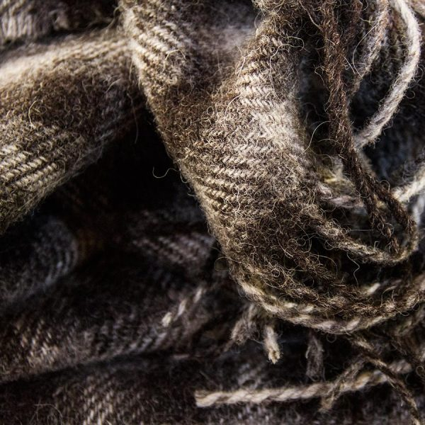Ardalanish Mill, Isle of Mull, Grey and White Checked Scarves, Detail